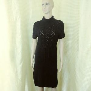 MICHAEL KORS Knitted Black Midi Dress Size L/G